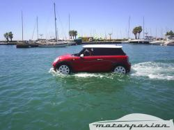 Mini driving on water