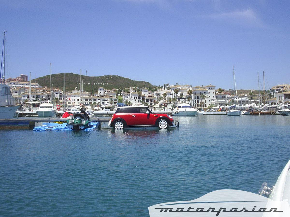 Mini driving on water
