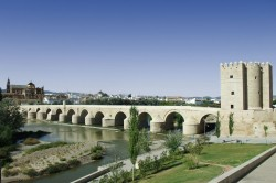 Roman Bridge over Guadalquivir River in Córdoba, Spain