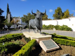 Ronda - Bull sculpture in front of the Ronda Bullring