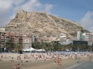 The Postiguet beach with Mount Benacantil and Saint Barbara castle in Alicante