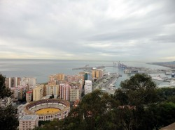 View from Gibralfaro Castle to the port of Malaga