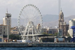 Malaga wheel Mirador Princess in the port of Malaga